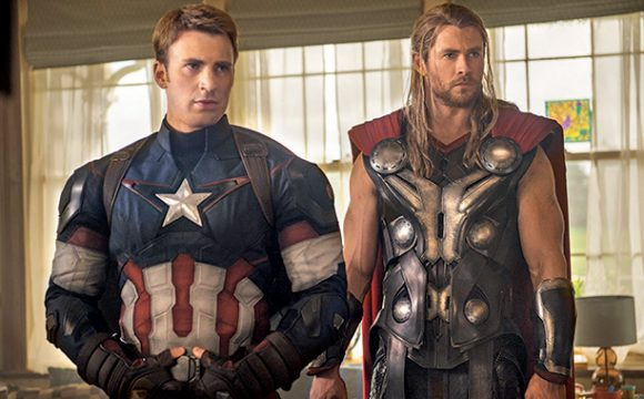 Chris Evans as Cap and Chris Hemsworth as Thor in Avengers: Age of Ultron