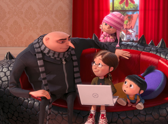 Gru with the girls in Despicable Me 2