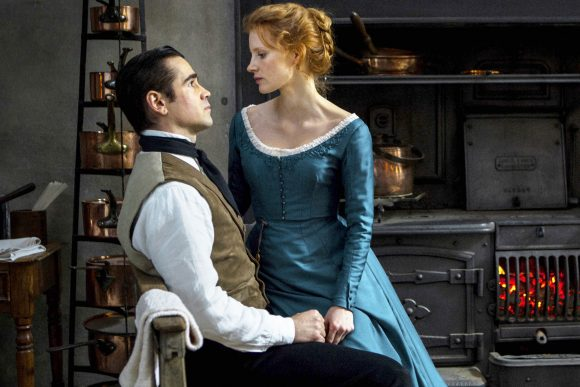 Colin Farrell as John and Jessica Chastain as Julie in Miss Julie