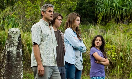 George Clooney, Nick Krause, Shailene Woodley and Amara Miller in The Descendants