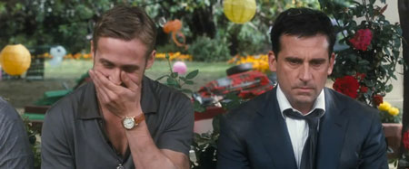 Ryan Gosling as Jacob and Steve Carell as Cal in Crazy, Stupid, Love.
