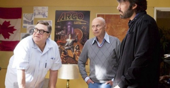 John Goodman as John Chambers and Alan Arkin as Lester Siegel with Ben Affleck as Tony Mendez in Argo