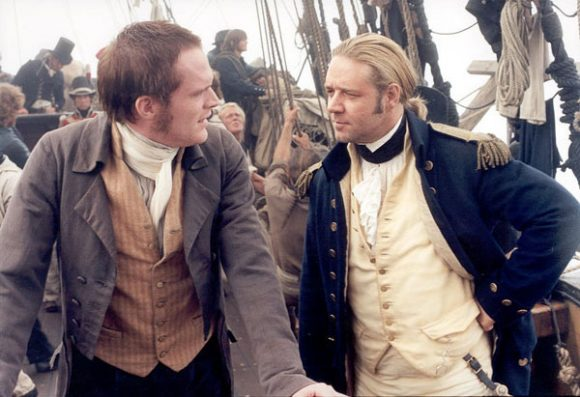 Paul Bettany as Dr. Stephen Maturin with Russell Crowe in Master and Commander: The Far Side of the World