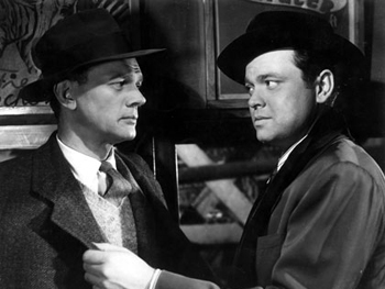 Joseph Cotton as Holly and Orson Welles as Harry Lime in The Third Man