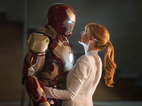 Robert Downey Jr. as Iron Man with Gwyneth Paltrow as Pepper Potts in Iron Man Three