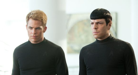 Chris Pine as Kirk and Zachary Quinto as Spock in Star Trek Into Darkness