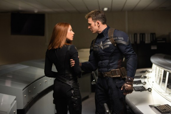 Scarlett Johansson as Natasha Romanoff and Chris Evans as Steve Rogers in Captain America: The Winter Soldier