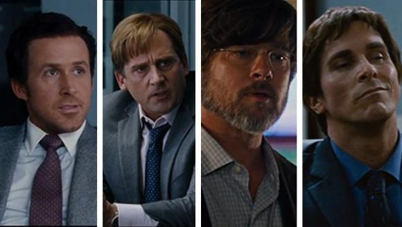 Ryan Gosling, Steve Carell, Brad Pitt and Christian Bale in The Big Short - photograph: news.com.au