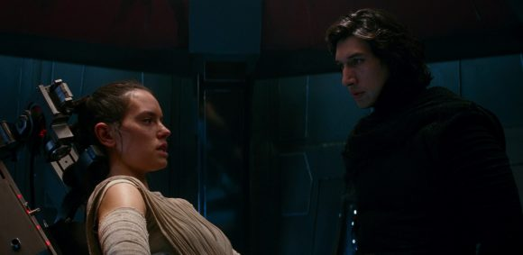 Daisy Ridley as Rey with Adam Driver as Kylo Ren in Star Wars: The Force Awakens
