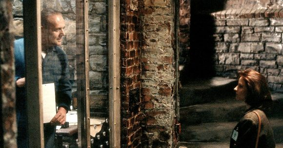 Anthony Hopkins as Dr Hannibal Lecter and Jodie Foster as Clarice Starling in The Silence of the Lambs